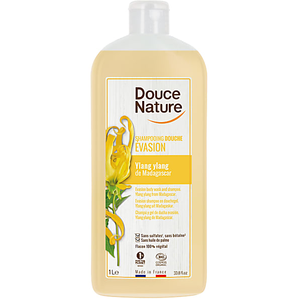 douce nature - shampoing douche evasion ylang ylang sans sulfates