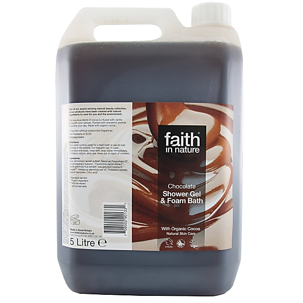 faith in nature gel douche & bain au chocolat - 5 litres