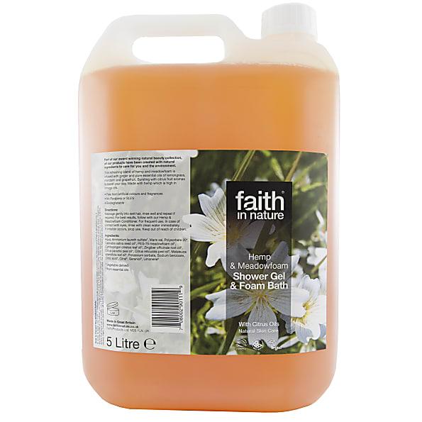faith in nature gel douche & bain au chanvre & limanthe - 5 litres