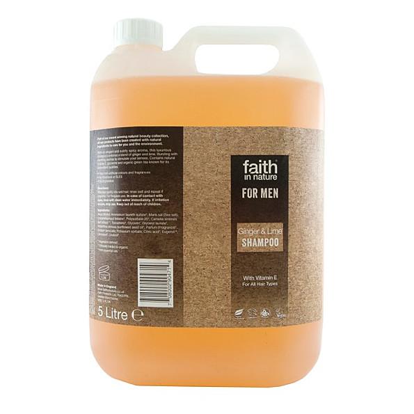 faith in nature pour homme shampoing au gingembre & citron vert - 5 l