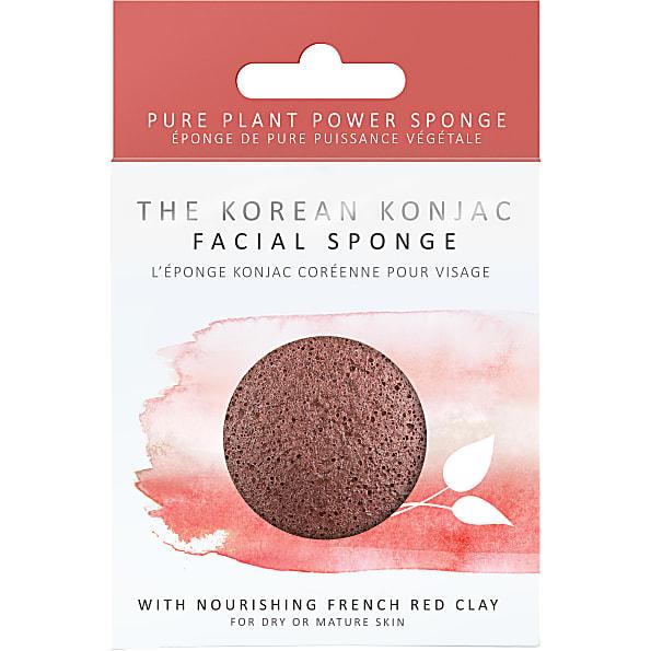konjac - eponge konjac pour le visage - argile rouge