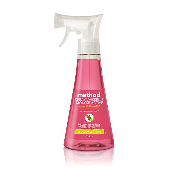 method - spray vaisselle mousse active - pamplemousse rose - 473 ml