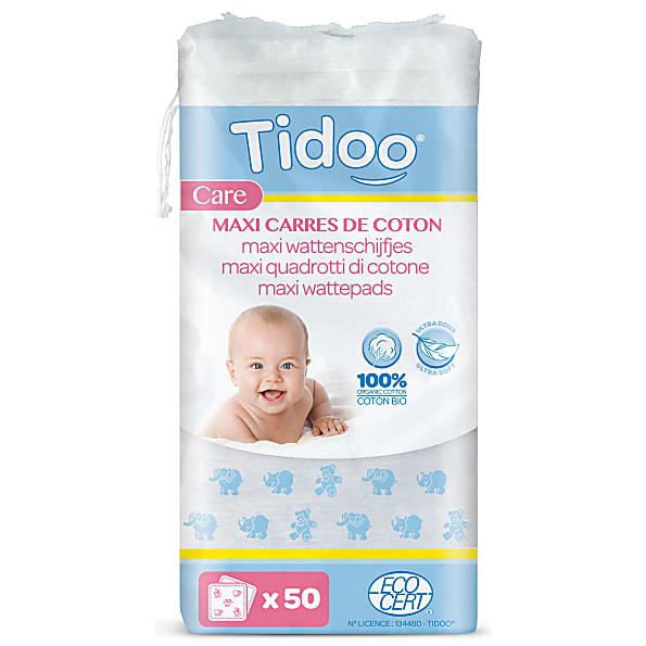 tidoo - maxi-carres de coton ultra doux 100% biologique