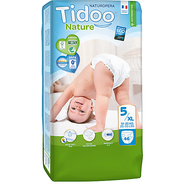 tidoo - jumbo 46 couches ecologiques junior (t5) - 12/25kg