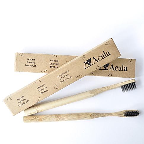 Acala Brosse à Dents en Bambou avec Poils au Charbon de Bois