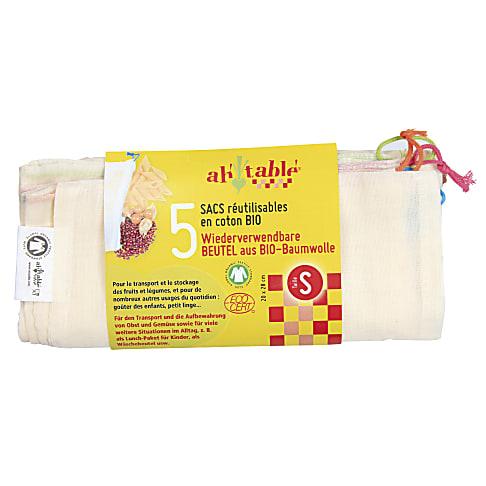 Ah!Table! Sacs en Coton Bio - Taille S (5 sacs)