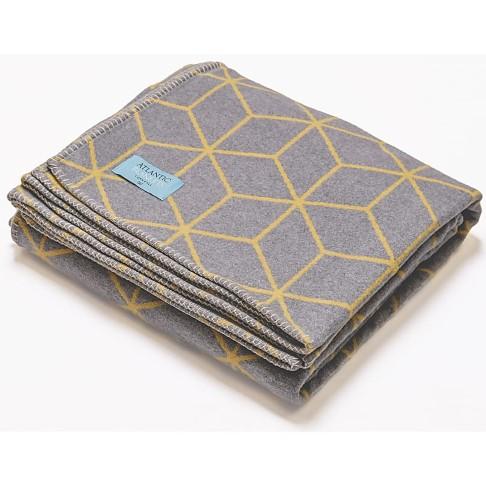 Atlantic Blankets Couverture en Coton Recyclé - Gris & Jaune