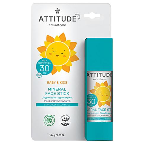 Attitude Bébés & Enfants Bâton Solaire 100% Minéral FPS 30 - Sans Parfum