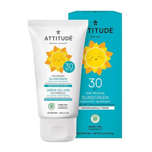 Attitude Bébés & Enfants Crème Solaire 100% Minérale FPS 30 - Sans Parfum