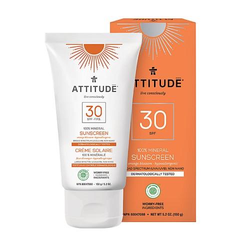 Attitude Crème Solaire 100% Minéral FPS 30 - Fleur d'Oranger