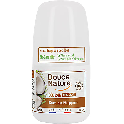 Douce Nature Déodorant Roll On pour Peaux Sensibles à l'Huile de Coco