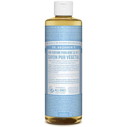 Dr. Bronner's - Savon Liquide de Castille Sans Parfum pour Bébé - 472ml