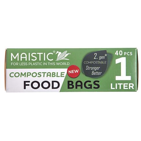 Maistic 2.Gen Sacs Alimentaires Compostables 1Ltr (40 sacs)