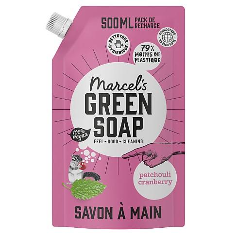 Marcel's Green Soap Savon Main Patchouli et Canneberge Sachet de Recharge 500ML