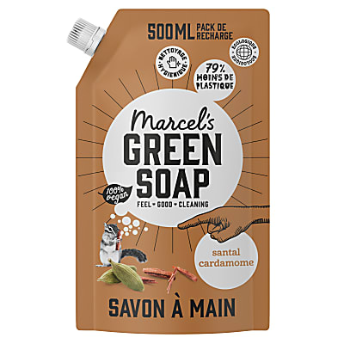 Marcel's Green Soap Savon Main Santal & Cardamome Sachet de Recharge 500ML