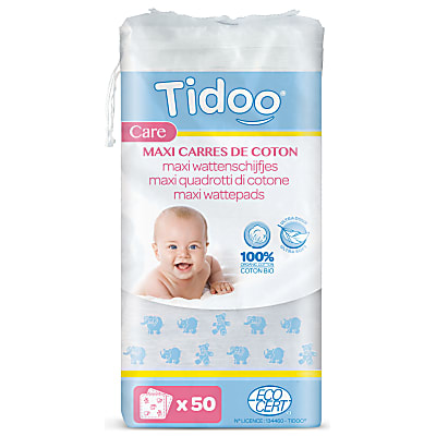 Tidoo - Maxi-Carrés de coton ultra doux 100% biologique